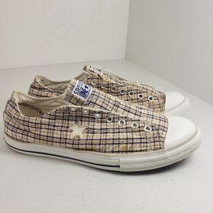 Converse All Star Slip-On Plaid Men's Shoes Sz 12